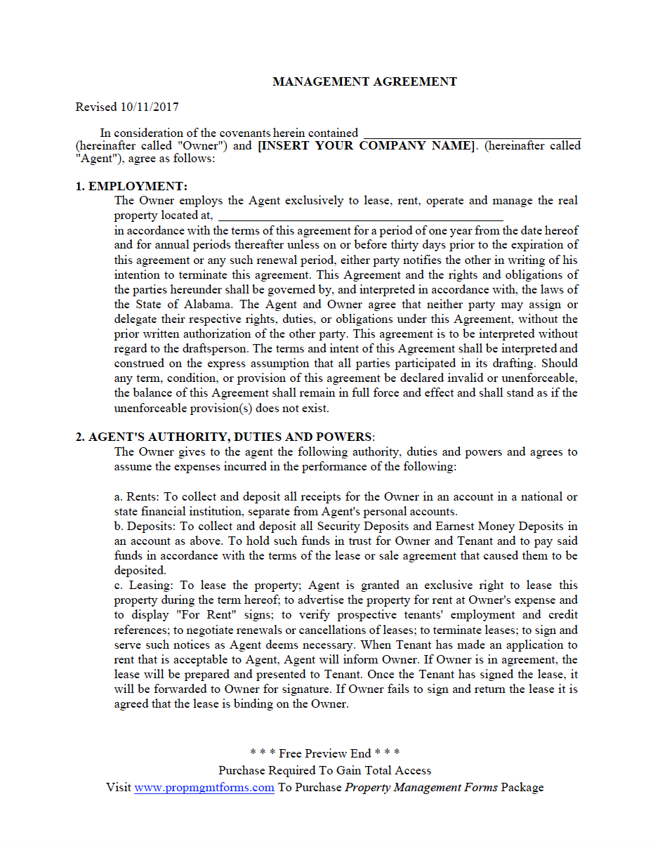 Property Management Agreement Template Free from www.propmgmtforms.com