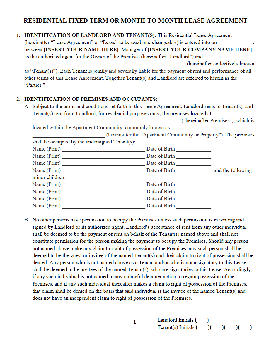Residential Lease And Rental Agreement Property Management Forms