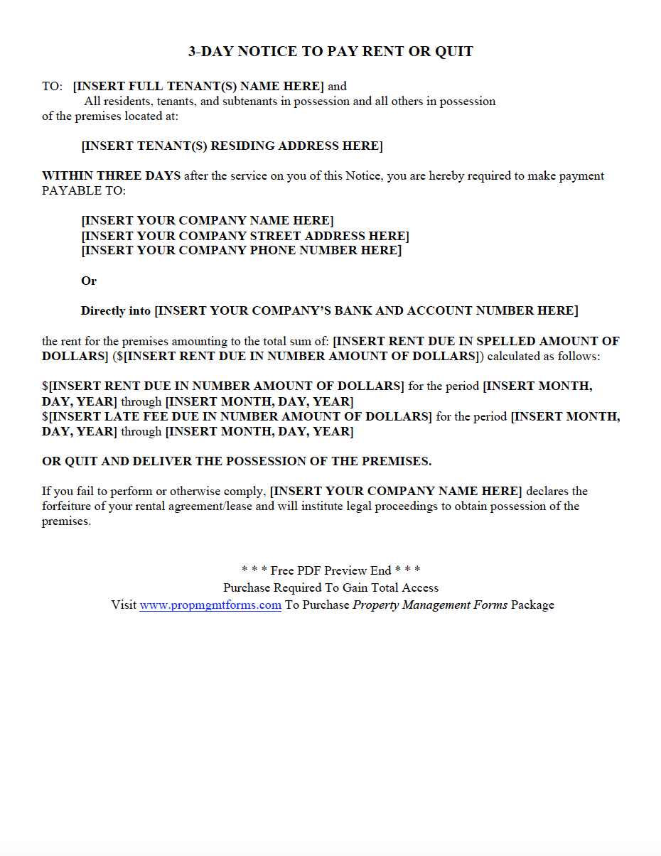 3-day-notice-to-pay-rent-or-quit  Day Tenant Notice Letter Template on lease termination letter, vacate california, sample letter, intent vacate,