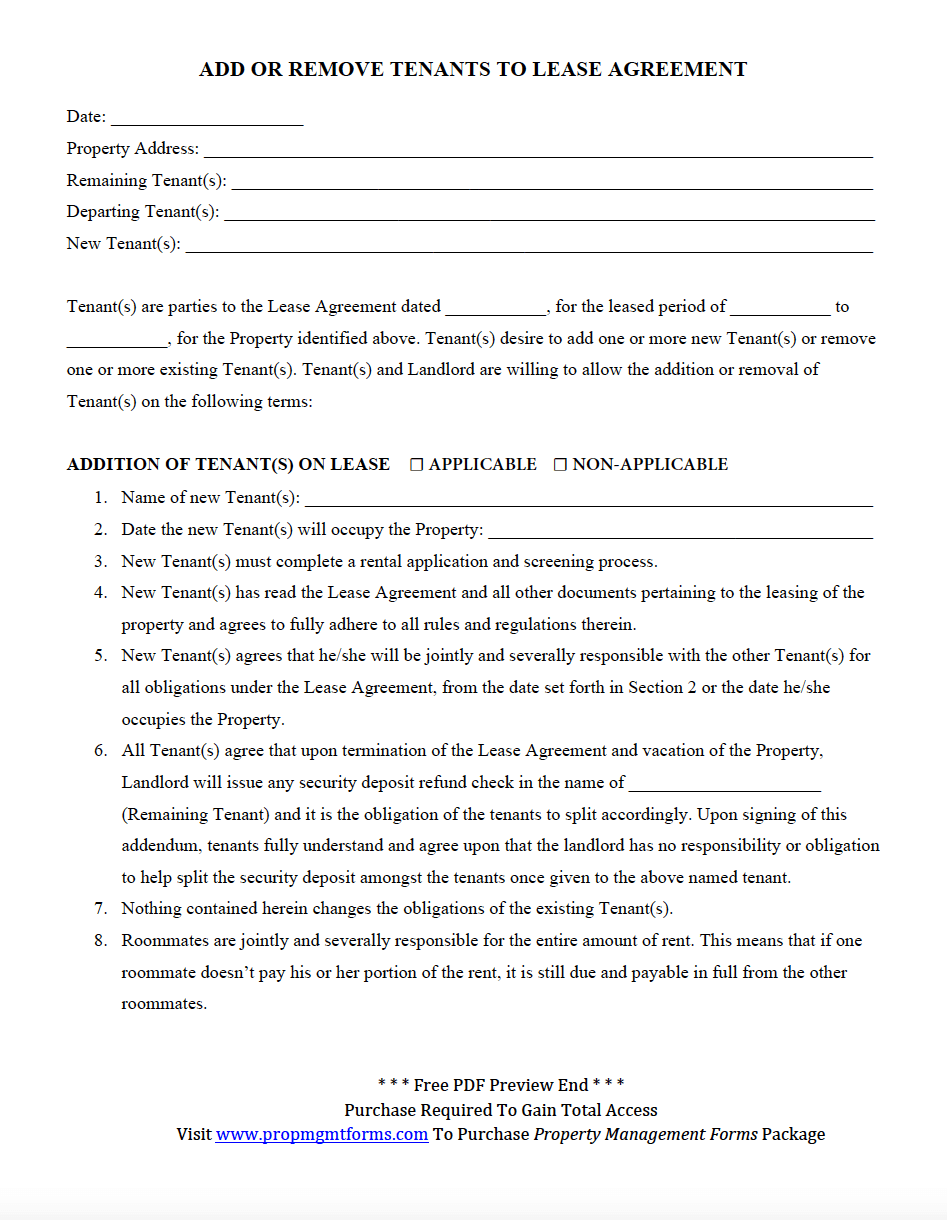 Add Or Remove Tenants To Lease Agreement Property Management Forms