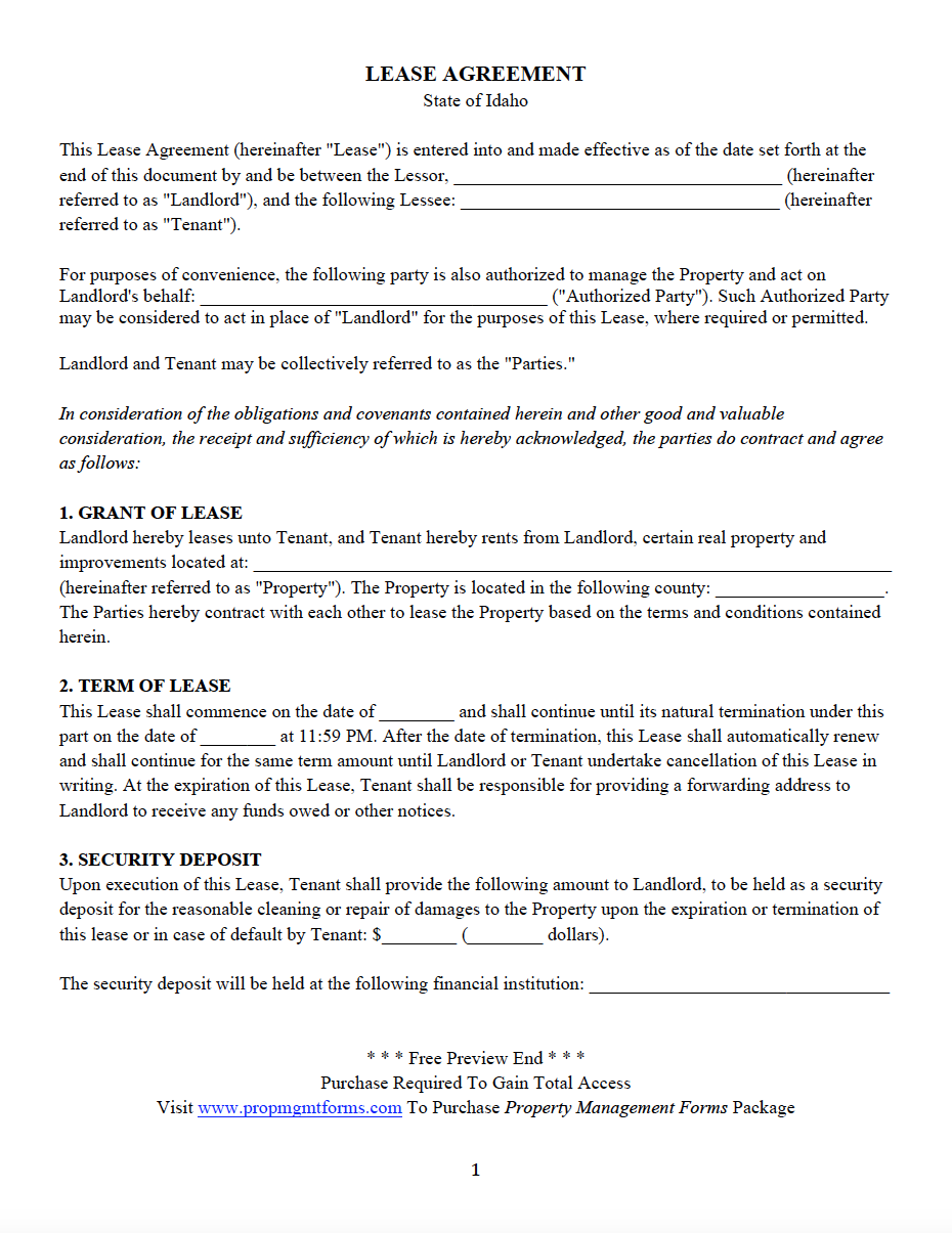 State Specific Residential Lease Agreements Property